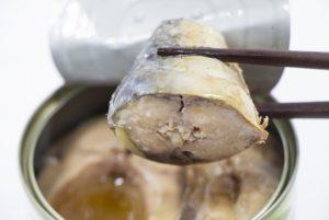 サバの水煮を箸でつかんでいる
