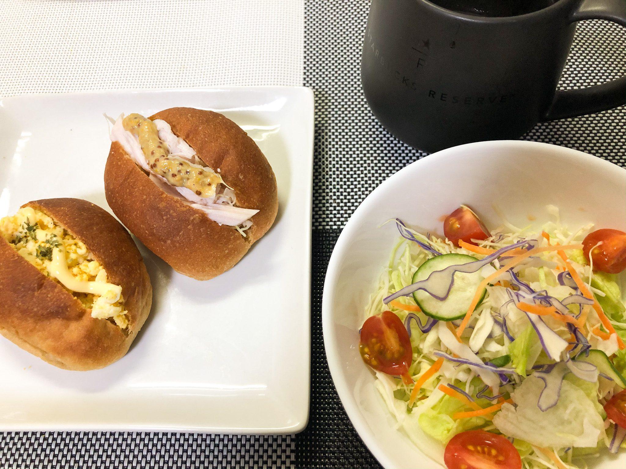 サラダとブランパン